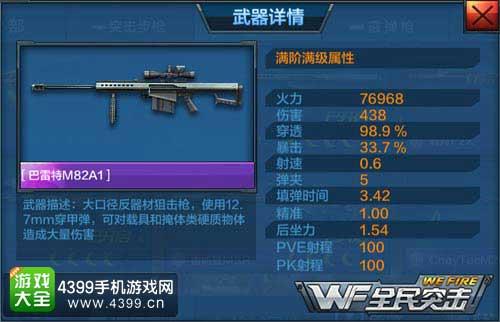 巴雷特M82A1属性
