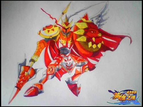 英雄之境绘画作品-红莲狮王・阿瑞斯