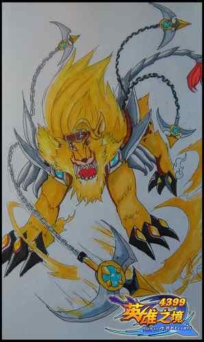 英雄之境绘画作品-黄金・狮子
