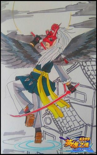 英雄之境绘画作品-自创英雄・黑夜之羽