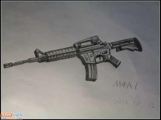 生死狙击玩家手绘-精美的m4a1