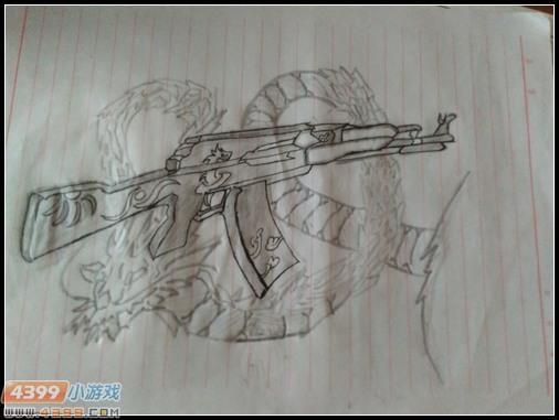 生死狙击玩家手绘-中国龙ak