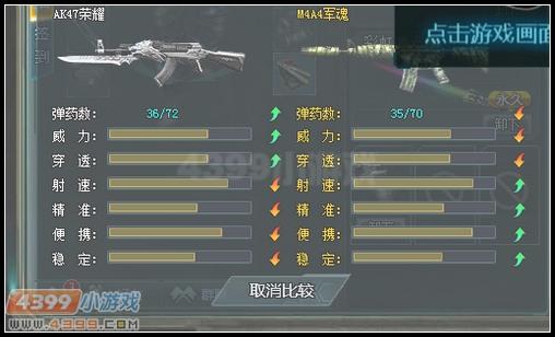 生死狙击AK47荣耀和M4A4军魂武器对比