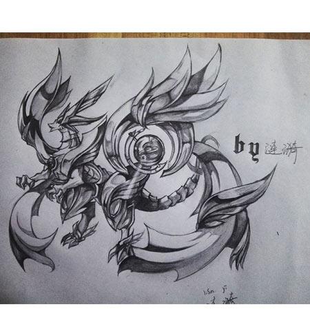 圣龙白马_奥奇手绘---素描版超神圣龙