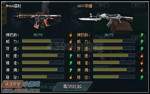 生死狙击M4A4镭射和AK47荣耀武器对比