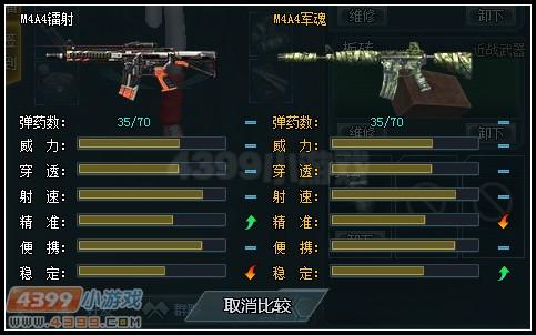 生死狙击M4A4镭射与M4A4军魂武器对比