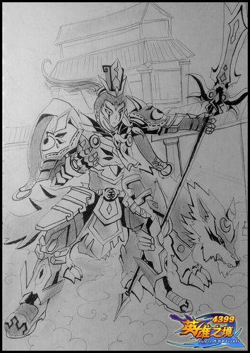 英雄之境绘画作品-原创英雄二郎神