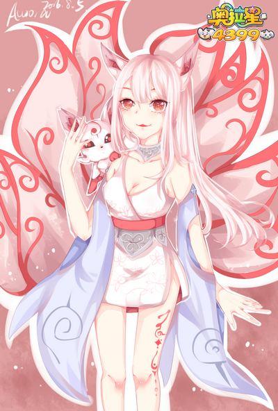 可爱的小白狐狸的照片