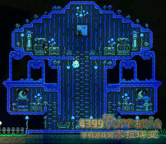 蘑菇人房屋建筑图纸: 这也是用淤泥建成的,但用了夜光蘑菇孢子代替丛林草种。背景是蘑菇墙(夜光蘑菇at工作台),还使用了蘑菇家具(夜光蘑菇at工作台or锯木机)其实夜光蘑菇本身就是一种建材哦!要是普通蘑菇和邪恶菇也能这么用就好了,再加上血红的杀戮菇和珍珠白色的珍珠菇>>