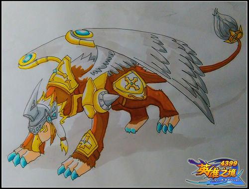 英雄之境绘画作品-原创守护骑士狮鹫