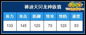 4399奥拉星神迹天贝龙种族值