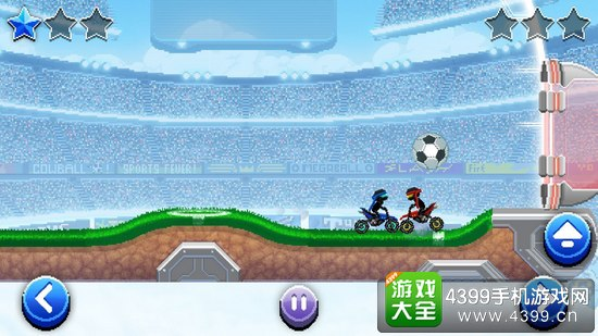 游戏中我们将来到一个封闭的比赛场地,系统采用了横版2D对战的方式呈现,画面以像素效果为基础,玩家们将驾驶着各种各样的车辆来进行足球比拼,而比赛中我们要做的就是用车辆将足球撞入对方的球门即可。游戏画面效果还算不错的,虽然是像素元素,但也能看见远处人山人海的观战场面,看起来颇有一丝紧张的感觉,比赛中车辆碰撞效果基本符合物理定律,可以根据一定的碰撞规律来掌握车辆动态。游戏的战斗过程虽然激烈,却并没有那种视死如归的感觉,只能说看着比较有冲劲而已。