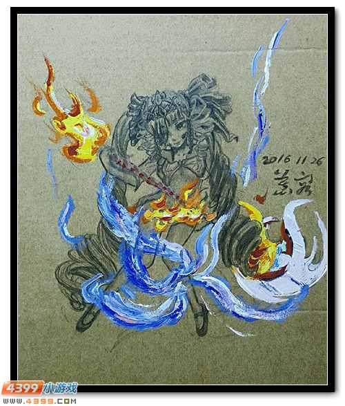 卡布手绘―焚天战魂女神进化
