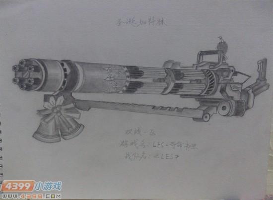 生死狙击玩家手绘-圣诞加特林