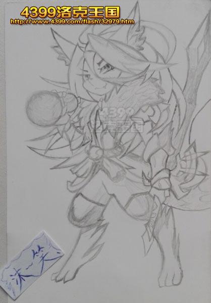 洛克王国手绘之千年之狐李白