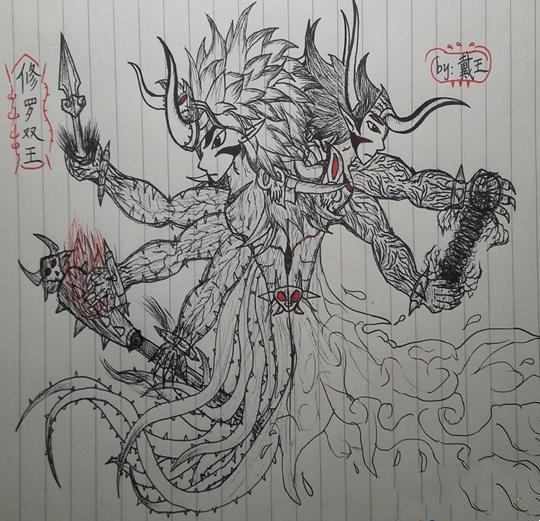 造梦西游4 玩家原创 绘画作品 >正文  雨装孙悟空-4399梁建伟线条九尾