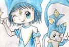 洛克王国手绘之迪莫和小女孩