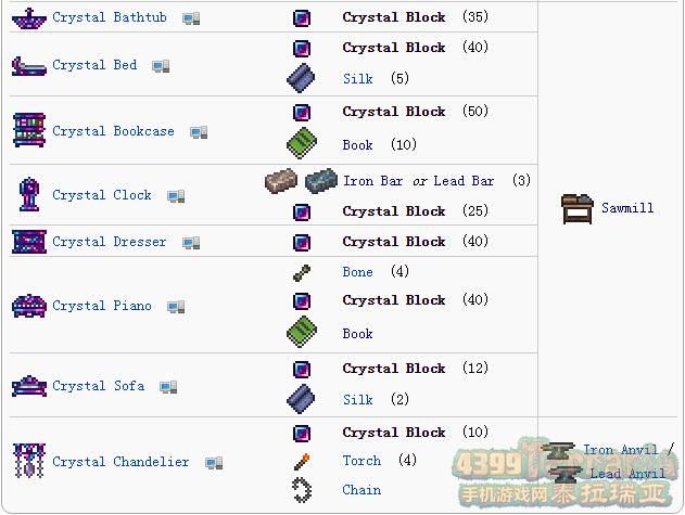 泰拉瑞亚水晶砖有什么用 水晶家具合成表