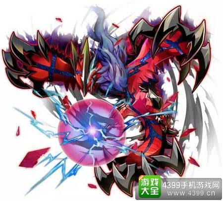 Y神,是恶系和飞行系传说中的神奇宝贝.张开的翅膀和尾巴变红的时