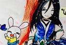 洛克王国手绘之幽凰剑圣与呱呱
