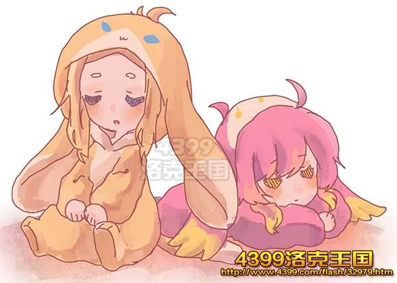 洛克王国绘画之两个宝宝睡觉觉