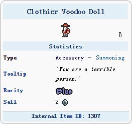 泰拉瑞亚裁缝巫毒娃娃
