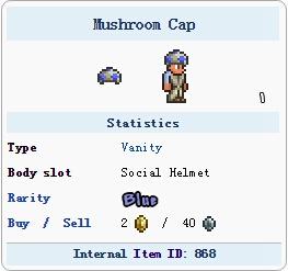 泰拉瑞亚蘑菇帽子