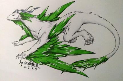 西普大陆精美手绘 绿绒银针