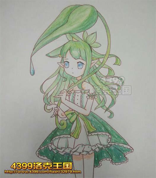 洛克王国绘画之绿萝魔灵拟人