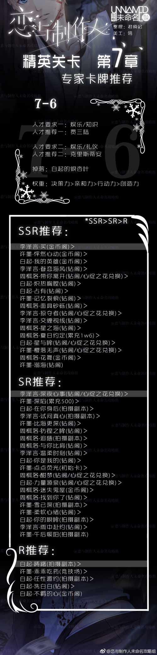 恋与制作人精英7-6关攻略 精英第七章怎么过