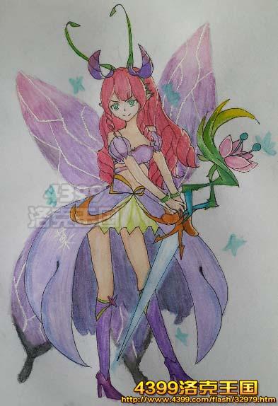 洛克王国绘画之流萤蝶后拟人