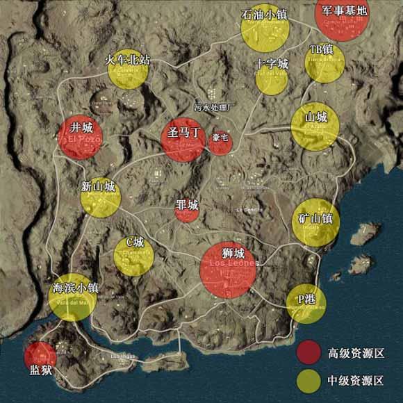 绝地求生刺激战场沙漠地图