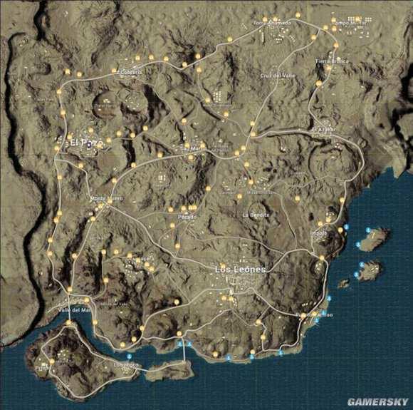 绝地求生刺激战场沙漠地图刷车点