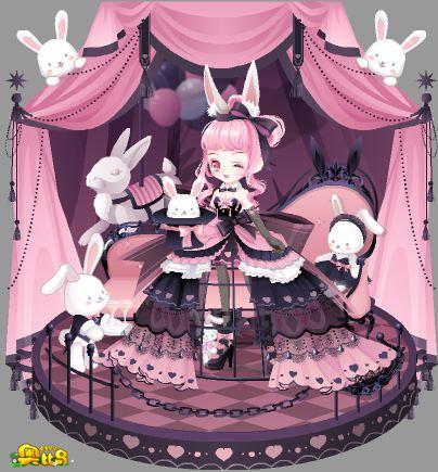 奥比岛粉粉兔女郎装