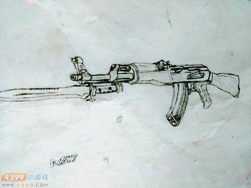 生死狙击玩家手绘-经历风吹雨打的AK47-A