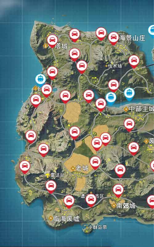荒野行动海岛地图刷车点