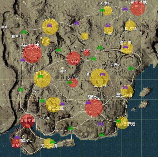 绝地求生刺激战场沙漠地图资源分布