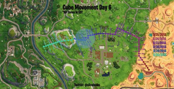 堡垒之夜手游紫色立方体不断移动 符号代表斜塔小镇?
