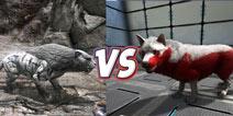 方舟生存进化恐龙对比:恐狼VS剑齿虎