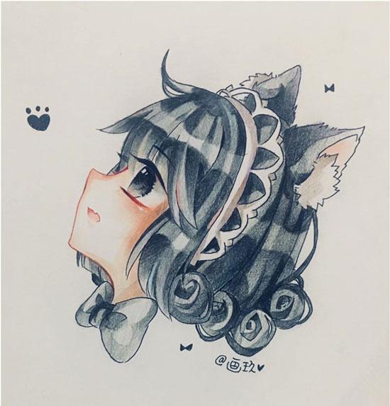 迷你世界手绘作品 猫咪女仆头像