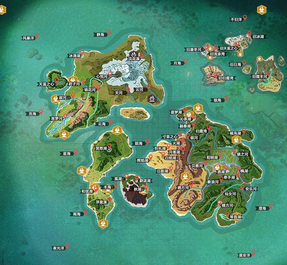 创造与魔法河流湖泊地图分布图 河流湖泊名字大全