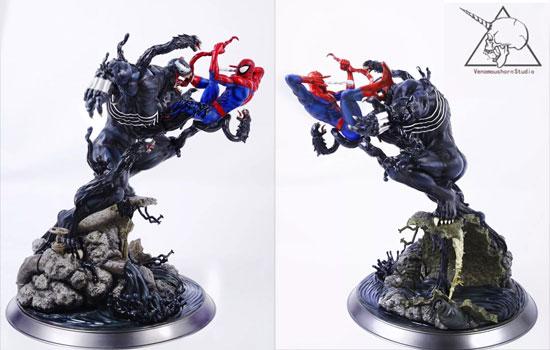 毒液VS蜘蛛侠对战雕像图片