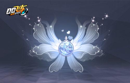 半透明的羽翼似人鱼的尾巴,轻盈灵动,羽翼中央是浅紫色的鱼鳞,如睡莲