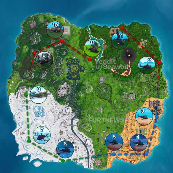,Reddit上的用户Seawod自制了一张直升机移动表,包括直升机停留过的各个地点: