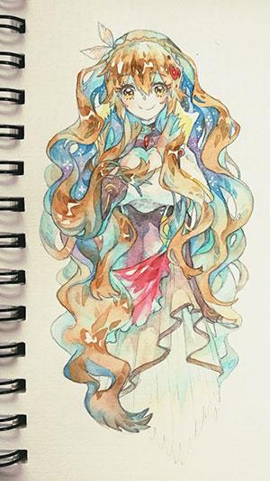 赛尔号手绘 微笑少女莫妮卡