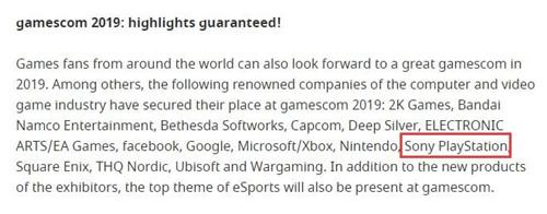 索尼将参加2019科隆游戏展和东京电玩展
