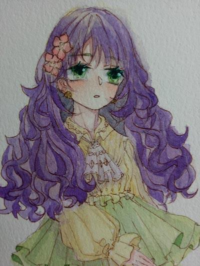 小花仙手绘出神的少女