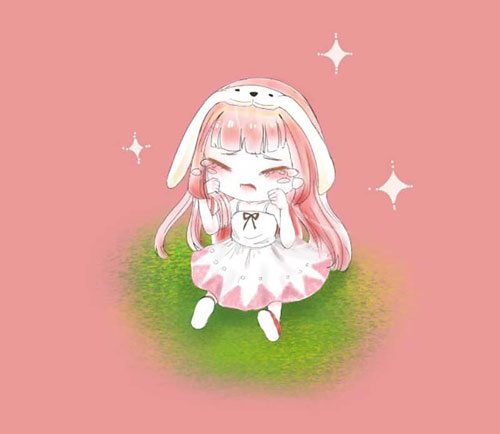 迷你世界手绘-兔美美哭唧唧