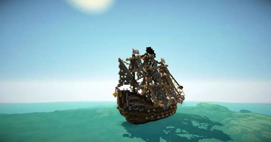 方块展示完美曲线 从《我的世界》大神造的风帆上能看出流动的风