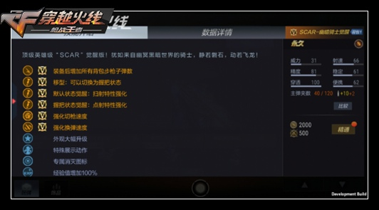 CF手游SCAR-幽暗骑士觉醒评测 冷门武器强势觉醒